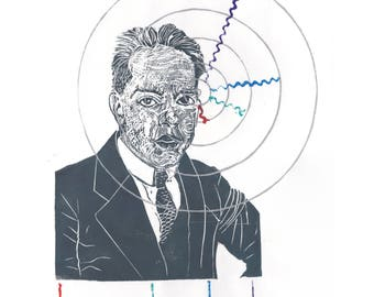 Niels Bohr History of Physics Linocut - Block Print Bohr Hydrogen Atom with Balmer Series Spectral Lines - Portrait Physicist 2nd Edition
