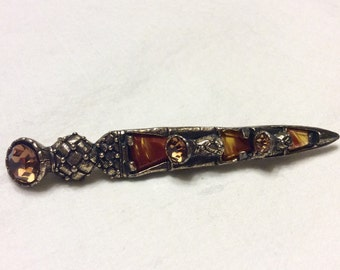 Miracle Scottish dagger agate thistle brooch pin.