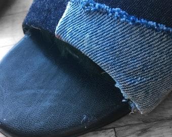 Denim patch heels