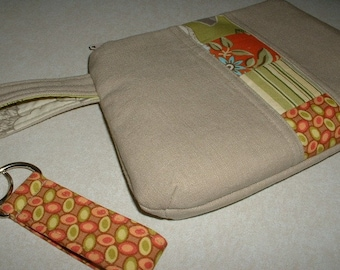 Upcycled Linen Wristlet, Clutch, Makeup Bag with Amy Butler Fabrics and Key Fob