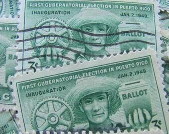 La Borinqueña 50 Vintage Puerto Rican US Postage Stamps Puerto Rico 1940s 3cent Kelly Green San Juan Hispanic Latin American Caribbean Vote