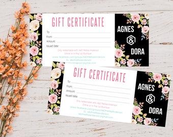 PRINTABLE Agnes and Dora Gift Certificate, Gift For You, Gift Card, Floral Design, Digital File AG008
