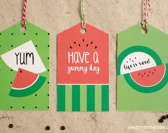 Watermelon Gift Tags | Set of 9 | 3x3 designs