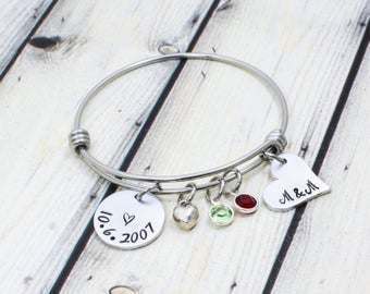 Date Bracelet - Engagement Gift - Anniversary Gift for Wife - Gift for Girlfriend - Personalized Bangle Bracelet for Women - Gift for Women