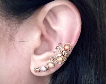 Gold  Ear Cuff with Moon Beads 24K Gold plated Ear Wrap