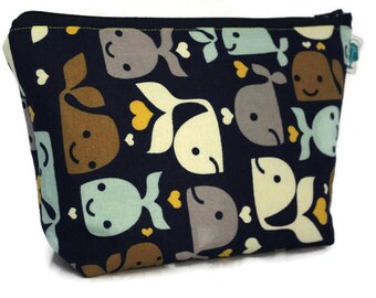 Large Cosmetic Bag, Makeup Bag, Accessory Bag, Make up Bag, Toiletry Bag, Gadget Bag, Jewelry Pouch in Happy Whales