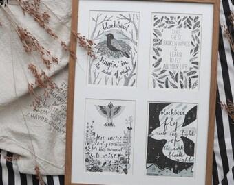 Blackbird Letterpress Prints / Postcards - set of 4 (From The Beatles' Blackbird Song)