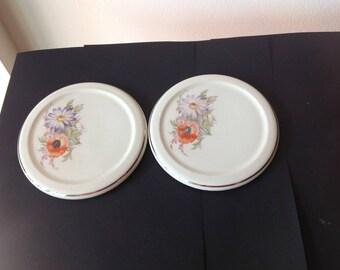 Vintage Porcelain Tea Trivet, Tea Pot Tile Gold Rim with Poppy