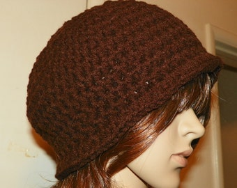 Stunning Coffee Brown Cloche  20's and 30's Style Hat Hand Crochet