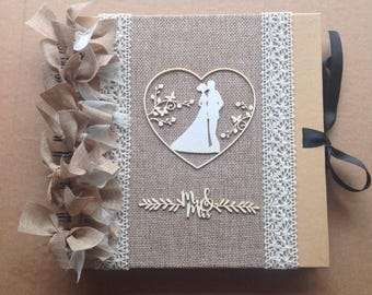 Rustic hessian and lace vintage wedding scrapbook album/ photo album/ guestbook size 8 x 8""
