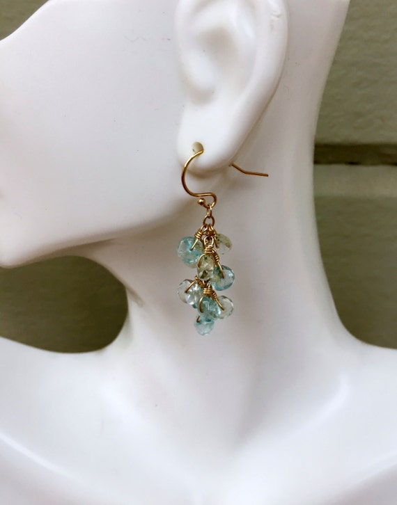 Aquamarine Dangle Earrings Blue Cluster Earrings Gift For Her Wedding Jewelry  Aquamarine Jewelry Everyday Earrings Mother's Day Gift