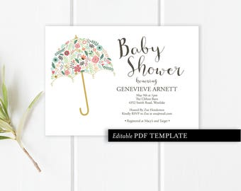 Umbrella Baby Shower Invitation Template   Baby Shower Invitation   Editable PDF Invitation   Baby Shower Printable   Instant Download