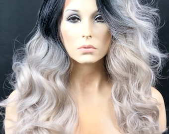 Ash Charcoal Mix Blonde, Rooted Ombre Human Hair Blend Wig // Swiss Lace Front Wig