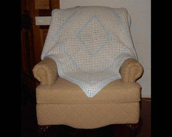 """Handmade Hand Made Granny Square Blue White Crocheted Lap Baby Afghan 42"""" x 42"""""""