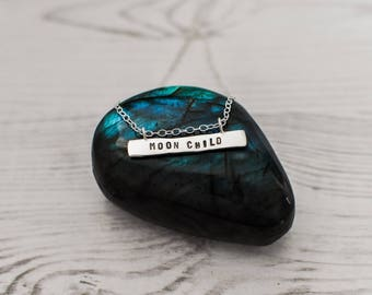 Moon child eco sterling silver bar necklace modern jewellery handmade