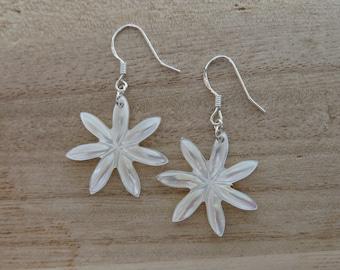 White Tiare Earrings- Flower Earrings-Gifts for her- Mother of Pearl- Shell- Hawaii- Sterling Silver- Silver- Dangle Earrings- Flowers