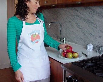 Honeycrisp Apple Apron with Matching Tattoo - Kitchen - Chef's Gift - Foodietoo - Cooking - Humor