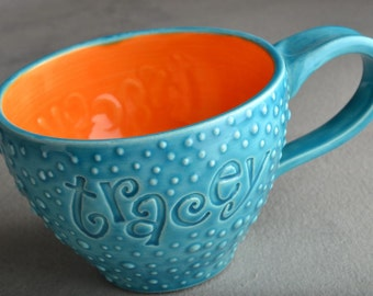 Personalized Mug Made To Order Personalized Stamped Dottie Soup Cocoa Mug by Symmetrical Pottery