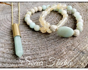 Trio Amazonite, aventurine and citrine