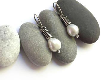 Sterling Silver Large Freshwater Pearls Hinged Lever Back Pierced Earrings Simple Elegant Dangle