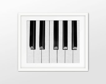 Piano Keys Art Print - Piano Music - Pianist Gift - Black And White Grayscale - White Linen Effect Photo Collage - INSTANT DOWNLOAD #2382