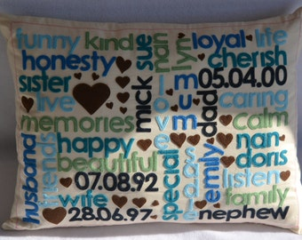 Personalised Memories Cushion. Bespoke cushion, cotton, second anniversary present, wedding gift, wordart, word cushion,unique, Mother's day