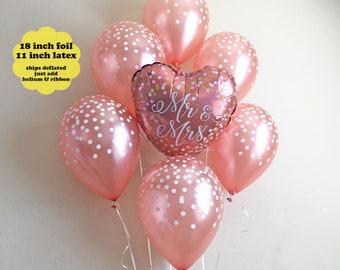 Bridal Shower Balloon Bouquet - Mr & Mrs Balloon Rose Gold Decorations Bachelorette Party Decor Balloons Rose Gold Confetti Latex Balloons