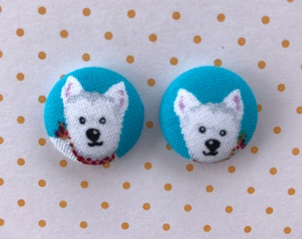 Puppy Fabric Button Earrings