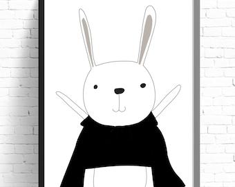 Monochrome Superhero Bunny Print - Nursery Print - Kids Room Wall Art - A4 Print - 8x10 Print - Monochrome - Black & White - Rabbit