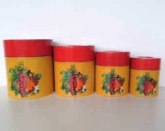 70s Nesting Stacking Canisters Orange and Red Metal Tins Set of 4  Kitchen Storage Containers