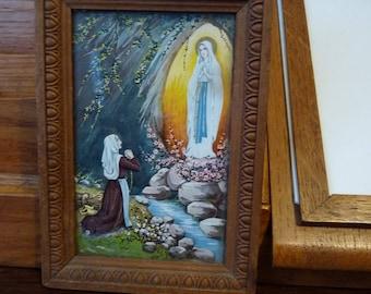 Vintage Framed Picture of Lourdes Grotto