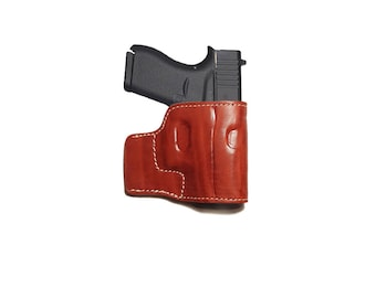 Leather Belt Holster for GLOCK 43 Concealed Carry Holster BROWN