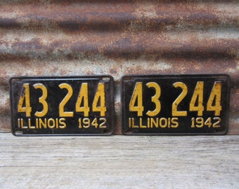 Vintage License Plate Illinois 1942 Matched set of 2 Black & Yellow 1940s Era Car Truck Automobile Rusted and Naturally Distressed Man Cave