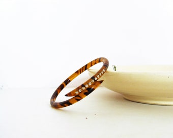 1930's Deco Celluloid Rhinestone Wrap Snake Bracelet / Tortoise Bangle