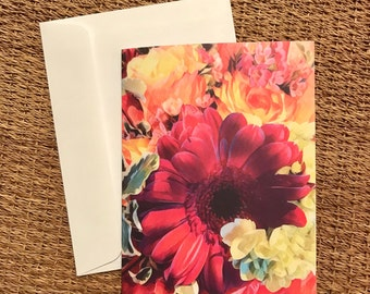 Flower Bouquet Folded Notecards w/ Envelopes/Blank Notecard Set of 10