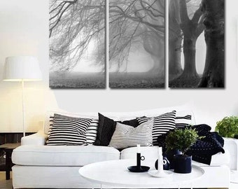 The Heavy Branches Black White Trees Home Decor Art Poster Canvas Prints Wall Pictures  3 Panel No Frame