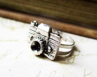 Camera ring jewelry gift for shutterbug photography hobby camera love vintage camera photographer jewelry gift for her bff teacher mom