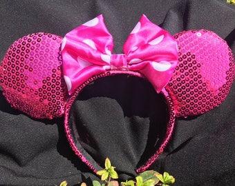 Pink Sequined Polka Dot Ears