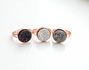 Druzy Ring Rose Gold Ring Adjustable Rings for Women White Druzy Ring Black Druzy Ring Simple Ring Unique Rings for Her Small Ring Tiny Ring