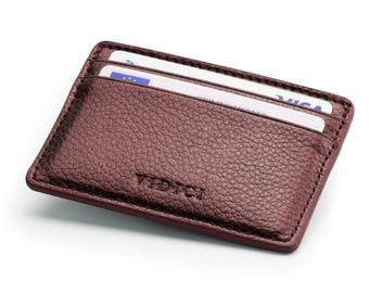 Pebble Vegan Leather Card Holder Wallet in Metallic Colours