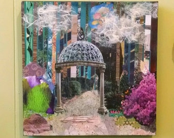 Garden Path with Gazebo, Nature Collage, Abstract Collage, 12x12 inches on gallery wrapped canvas by Ohio Artist Karen Koch