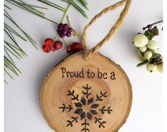 Proud To Be A Snowflake Christmas Ornament / Reclaimed Wood Holiday Ornament / Stocking Stuffer / Political Humor / Wooden Holiday Ornament