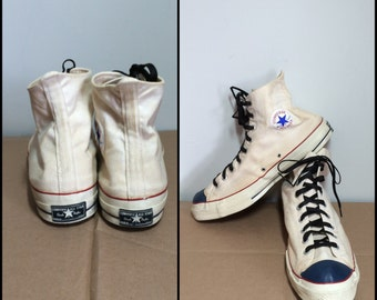Vintage 1960's Converse Chuck Taylor Made in USA white canvas Sneakers Kicks Shoes size 16 Blue Toe Black label