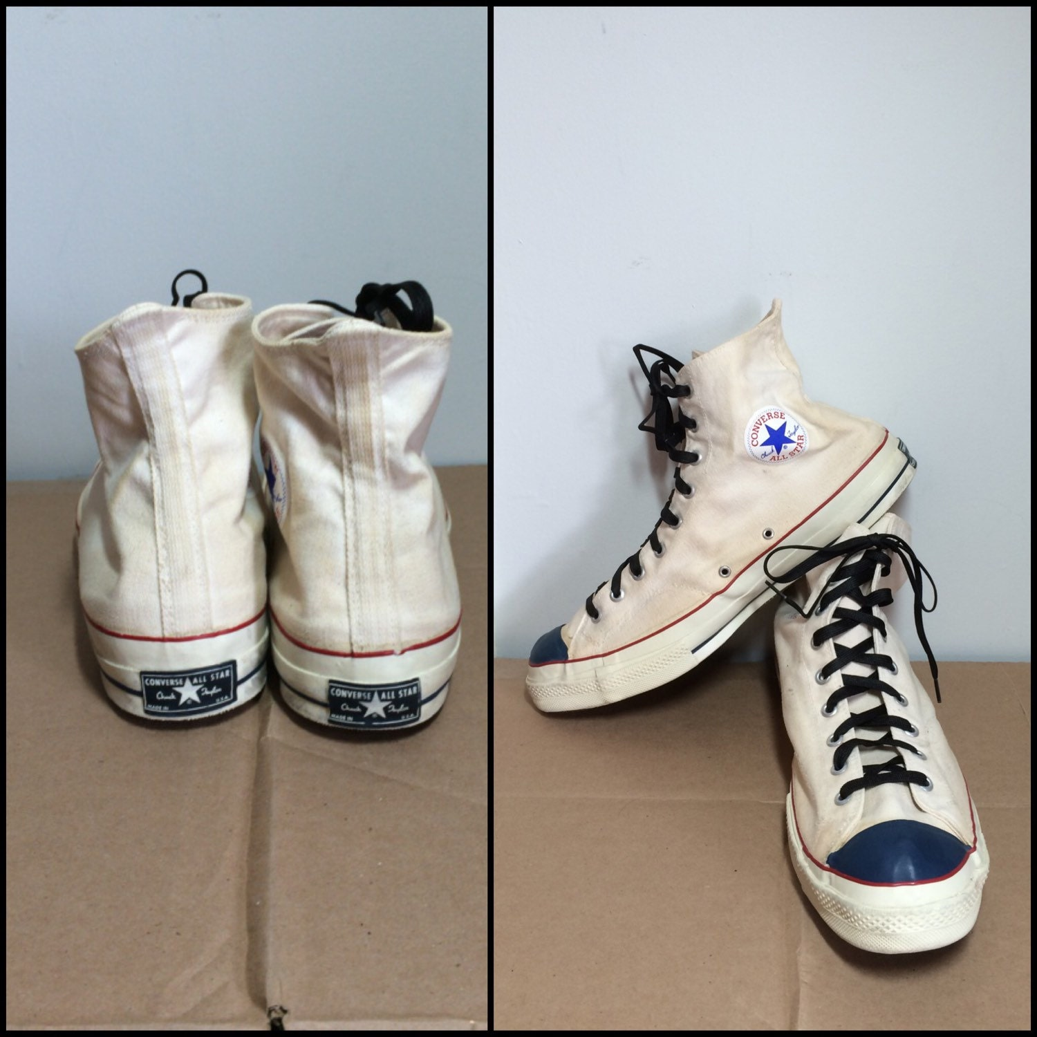 Vintage 1960\'s Converse Chuck Taylor Made in USA white canvas ...