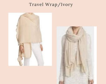 Pure Cashmere Travel Wrap in Ivory Made in Nepal