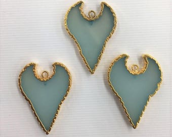 3 pcs of Gold Edge Aqua color Chalcedony 25-28 x 34-36 mm