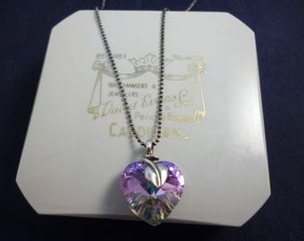 """A stunning shimmery 2 sided heart pendant necklace with leaf detail - 925 - sterling silver - crystal - 16"""" necklace - i"""