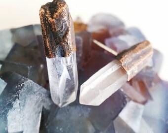 Quartz Point Earrings // Raw Crystal Point Earrings // Electroformed Copper Earrings //  Quartz Earrings