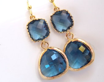 Glass Earrings, Blue Earrings, Gold Navy Blue Earrings, Montana Blue, Dark Blue, Royal Blue, Bridesmaid Earrings, Bridesmaid Gifts