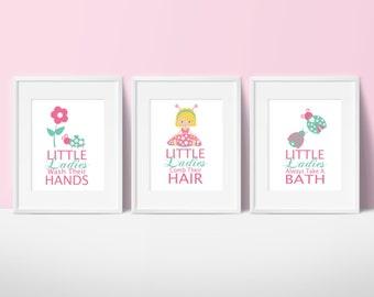 Kids Ladybug Bathroom Prints, Ladybugs Bathroom Rules